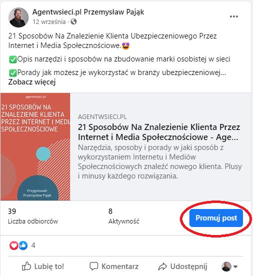 Promowanie posta na Facebooku agent ubezpieczeniowy