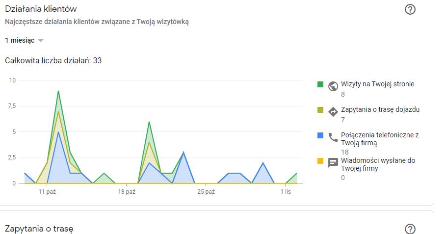 wizytówka google statystyki działania