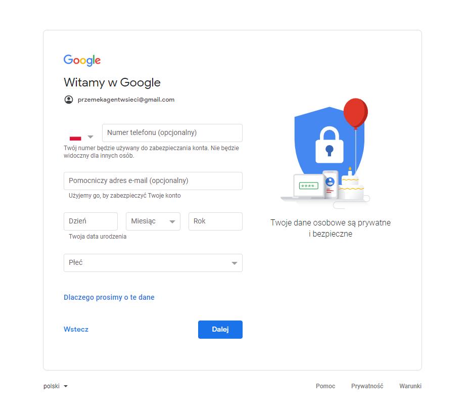 pomocnicze pytania konto google