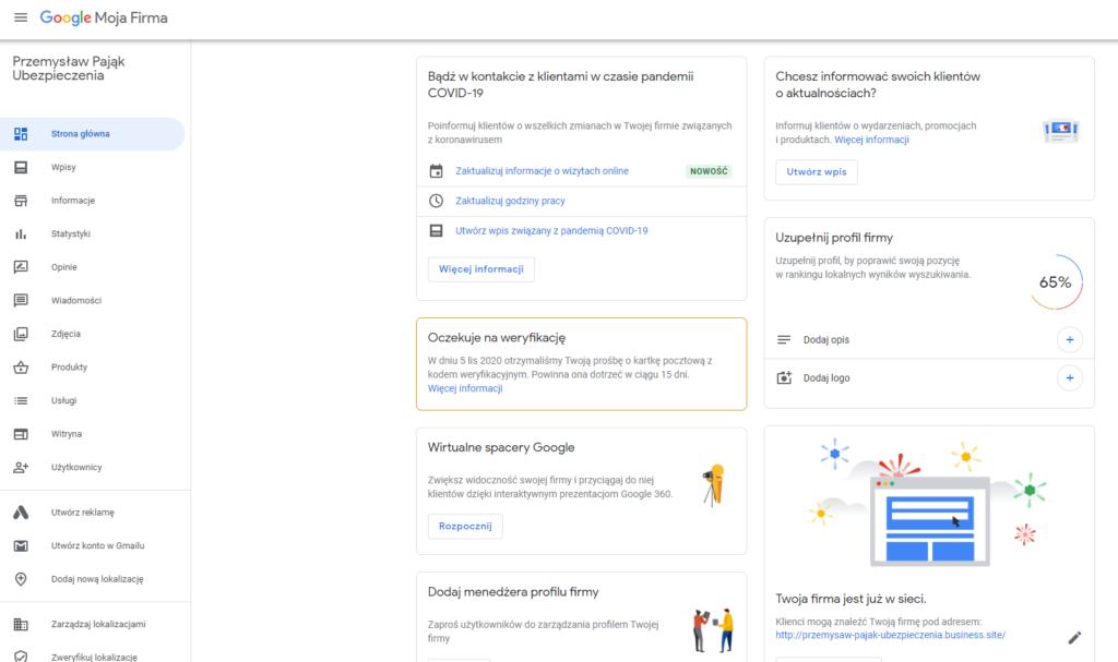 Wizytówka google ekran główny