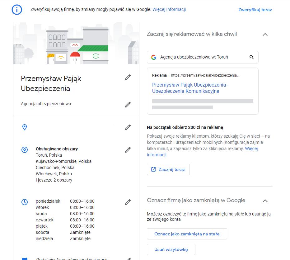 wizytówka Google informacje