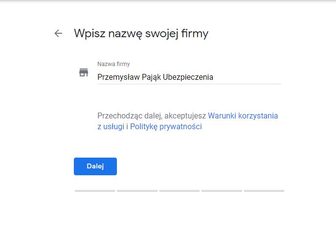 wizytówka google potwierdź nazwę