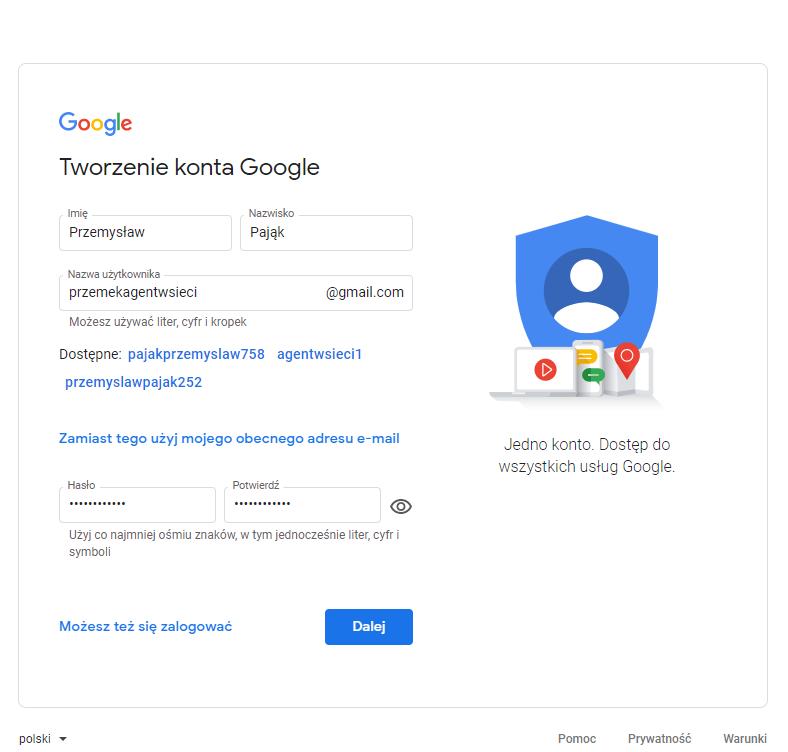 dane konto google