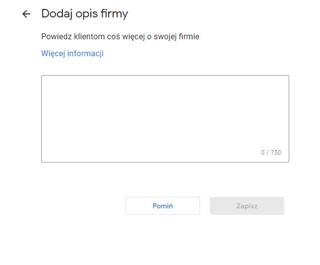 wizytówka Google opis
