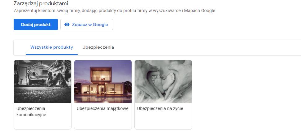 wizytówka google produkty