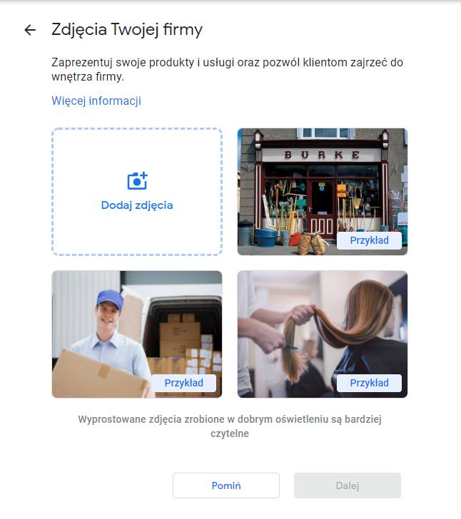wizytówka Google zdjęcia