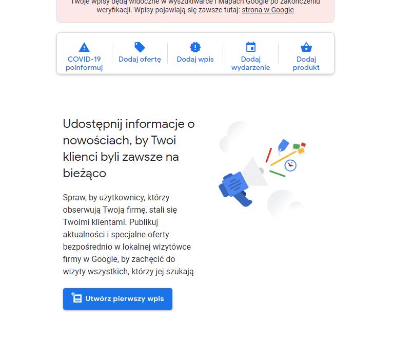 wiyztówka google utwórz wpis